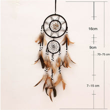 Load image into Gallery viewer, brown and tan colored dreamcatcher with size specifications