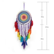 Load image into Gallery viewer, rainbow colored dreamcatcher with size specifications