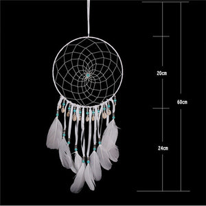 white dreamcatcher with size specifications on a black background
