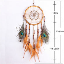 Load image into Gallery viewer, orange and peacock feathers dreamcatcher with size specifications