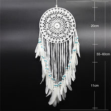 Load image into Gallery viewer, white dreamcatcher with size specifications on a black background
