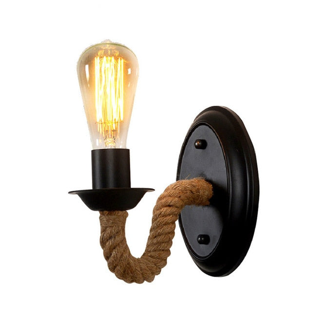 Industrial wall sconce with hemp rope and edison bulb FunkChez