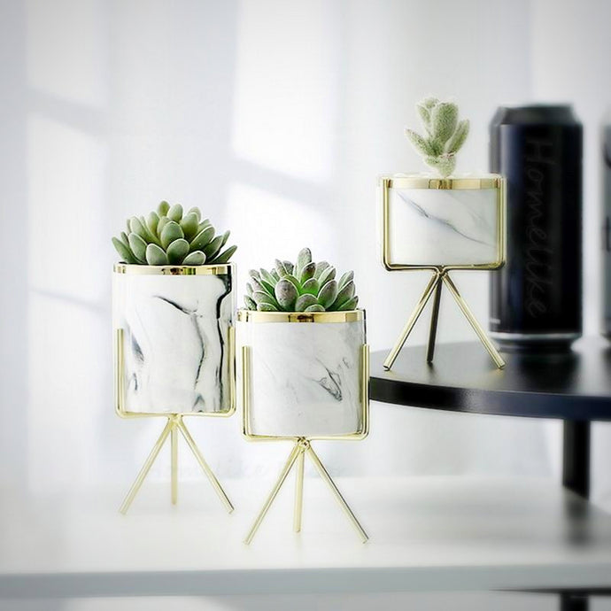 1 set of 3 marble glazed planter pots with gold iron stands in different sizes