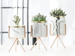 1 set of 3 marble glazed planter pots with rose gold iron stands in different sizes