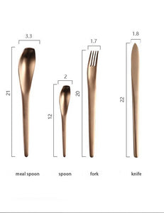 4 piece cutlery set in ombre colour with size specifications