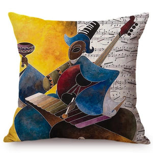 cushion cover with an image of a black man playing an instrumnet