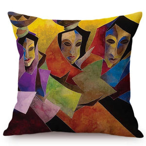 cushion cover with an image of 3 ladies