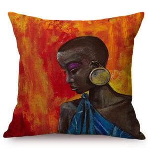 cushion cover with an image of a black woman wearing a big round earring