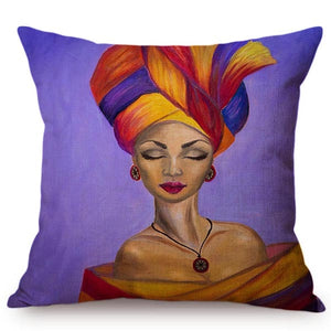 cushion cover with an image of an african lady printed