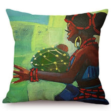 Load image into Gallery viewer, cushion cover with an image of an african lady against green trees