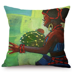 cushion cover with an image of an african lady against green trees