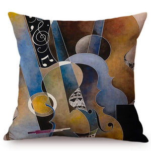 cushion cover of musical instruments printed