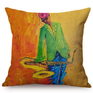 cushion cover with an image of an african man holding his trumpet