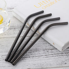 Load image into Gallery viewer, black curvy stainless steel straws