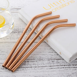 4 rose gold curvy stainless steel straws