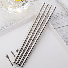 Load image into Gallery viewer, 4 stainless steel straws placed on a plate