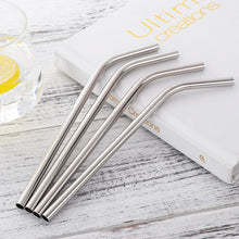 Load image into Gallery viewer, 4 silver curvy stainless steel straws