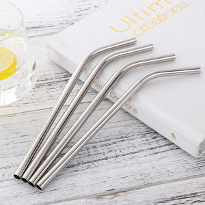 4 silver curvy stainless steel straws