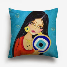 Load image into Gallery viewer, arabic girl's face printed on a cushion cover