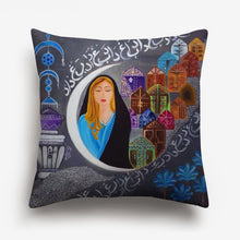 Load image into Gallery viewer, girl and a half moon printed on a cushion cover