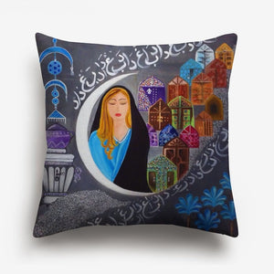 girl and a half moon printed on a cushion cover