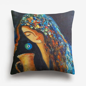 arabic girl's face printed on a cushion cover