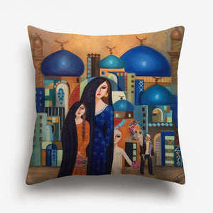 woman and child printed on a cushion cover against a city background