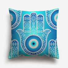 Load image into Gallery viewer, blue throw cover with a hand printed on it along with nordic designs