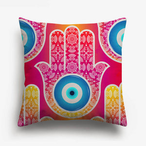 hand with a circle in the center printed on a cushion cover