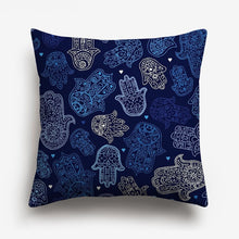 Load image into Gallery viewer, dark blue shades of abstract designs printed on a cushion cover