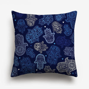 dark blue shades of abstract designs printed on a cushion cover