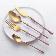 Load image into Gallery viewer, PINK AND GOLD PLATED 4 PIECE ROYALTY CUTLERY SET