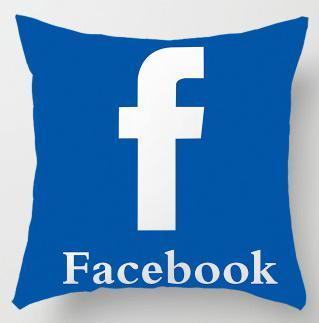 FACEBOOK LOGO PRINTED ON A CUSHION COVER