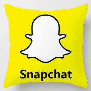 SNAPCHAT LOGO PRINTED ON A CUSHION COVER