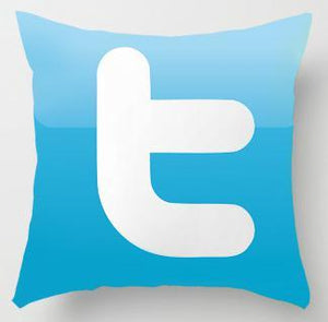 twitter logo in blue with the letter 't' in white printed on a cushion cover