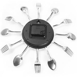 Stainless Steel Spoon and Fork Kitchen Clock Battery slot and tuner