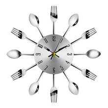 Load image into Gallery viewer, Stainless Steel Spoon and Fork Kitchen Clock