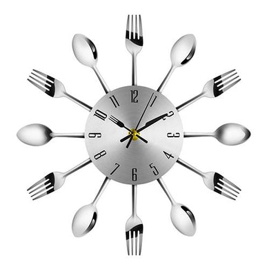 Stainless Steel Spoon and Fork Kitchen Clock