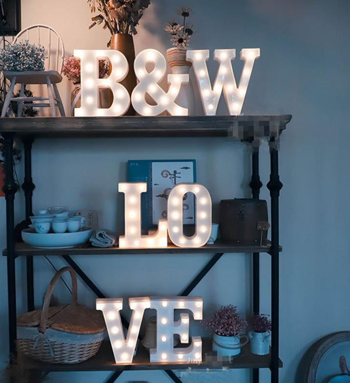B&W LOVE DECORATIVE LETTERS LIT WITH BULBS
