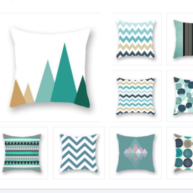 9 throw covers with shades of teal and white