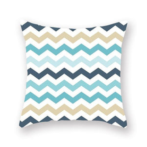 Teal mustard and white geometric cushion cover - FunkChez