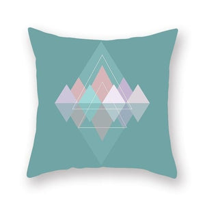 TEAL pink orange and purple colours in geometric design cushion cover- FunkChez