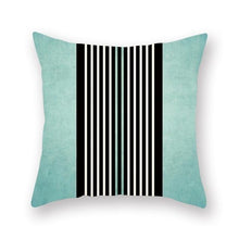 Load image into Gallery viewer, Teal black and white stripes cushion cover - FunkChez