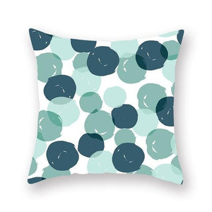 Teal and light green bubbles on a white background cushion cover - FunkChez