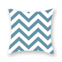 Load image into Gallery viewer, White and blue geometric design cushion cover - FunkChez