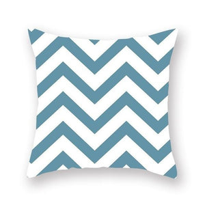 White and blue geometric design cushion cover - FunkChez