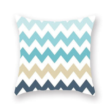 Load image into Gallery viewer, Teal mustard and white geometric cushion cover - FunkChez