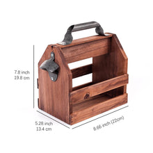 Load image into Gallery viewer, 6 beer bottle wooden caddy with bottle opener displaying measurements