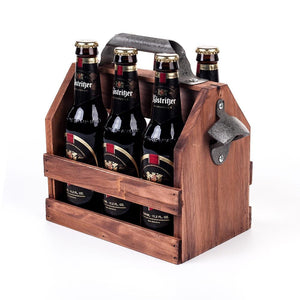 6 beer bottle wooden caddy with bottle opener