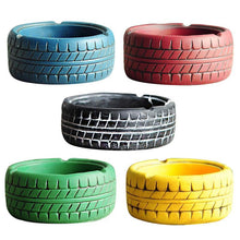 Load image into Gallery viewer, 5 tire looking ashtrays in blue, red, black, green and yellow colour